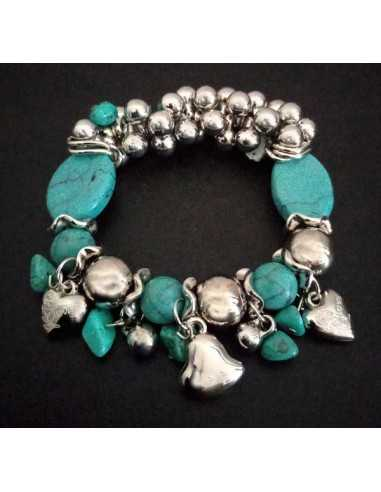 Bracelet pampilles coeurs et turquoises ovales de synthèse