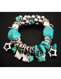 Bracelet pampilles papillons & étoiles turquoises de synthèse