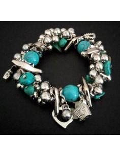Bracelet pampilles poisson avec turquoises de synthèse