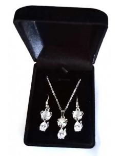 Parure en coffret collier pendentif chat à perle translucide + BO