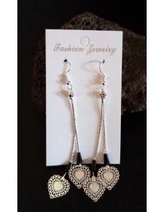 Boucles d'oreilles pendantes fantaisie coeur et perles noires
