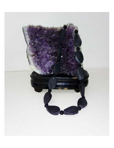 Collier pierre de lave de volcan 44 cm