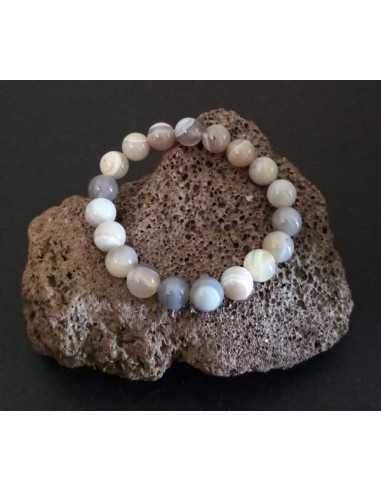 Bracelet agate grise d'Inde pierres boules 10 mm