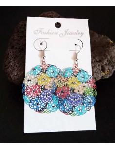 Boucles d'oreilles rondes filigranes motif fleurs colorées
