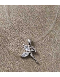 Collier transparent pendentif fée fantaisie zirconium