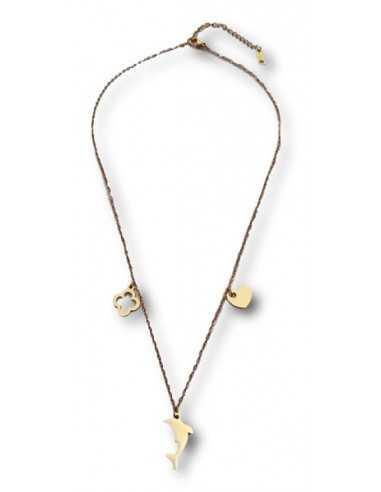 Collier acier inoxydable avec pendants motifs dauphin coeur trèfle