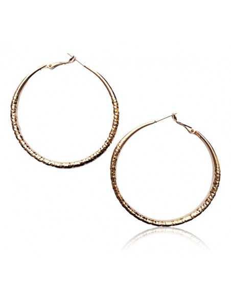 Créoles rondes fantaisie anneau texturé taille dégradée