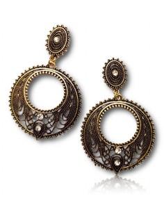 Créoles vintage pendantes avec motifs et strass