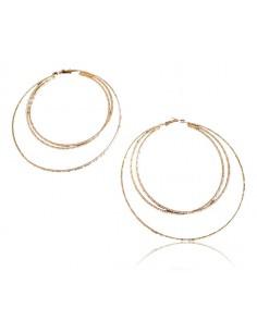 Créoles XXL 3 anneaux texturés diamètre 9 cm