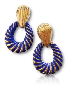 Boucles d'oreilles créoles rayures couleurs martelées