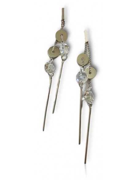 Boucles d'oreilles pendantes tiges, pampilles et zircons