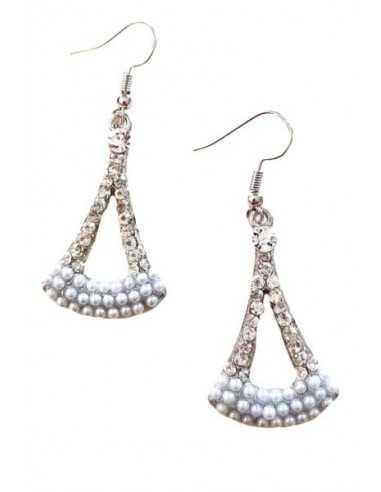 Boucles d'oreilles triangles avec perles et strass
