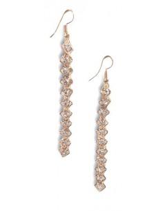 Boucles d'oreilles pendantes ligne de carrés zirconiums