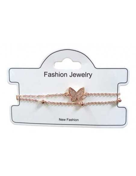 Bracelet fin double rangs motif papillon serti