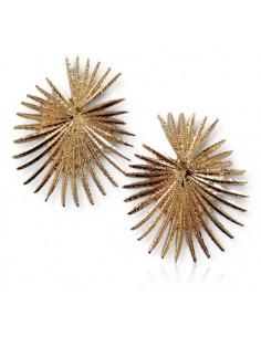 Boucles d'oreilles coeur motifs feuilles graphiques