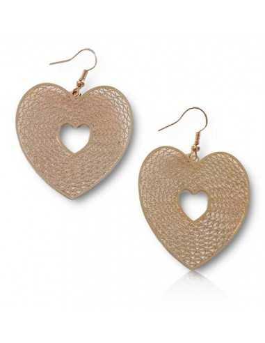 Boucles d'oreilles pendantes fantaisie coeur filigrane