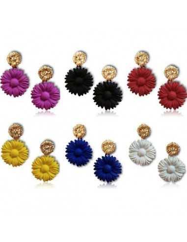 12 paires de boucles d'oreilles pendantes fleurs couleurs