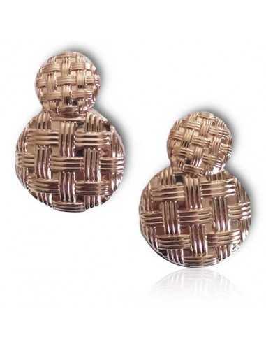 Boucles d'oreilles pendantes boutons carreaux