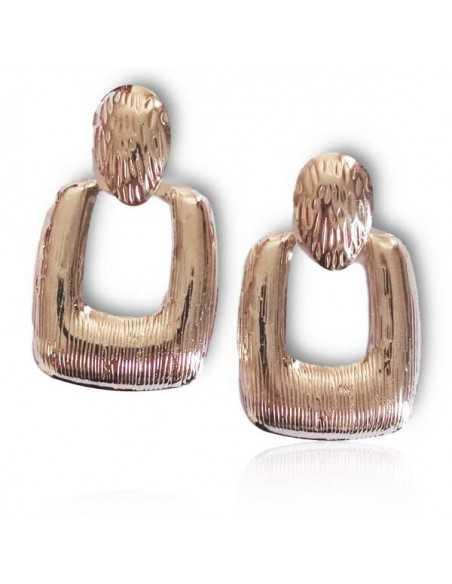 Boucles d'oreilles pendantes carrées motifs texturés