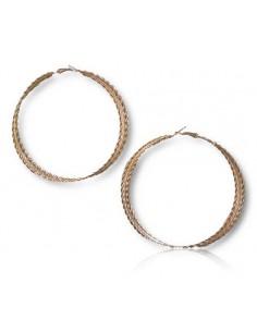 Créoles XXL sur 3 anneaux texturées et torsadées