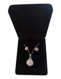 Parure en coffret collier pendentif goutte serti & boucles d'oreilles