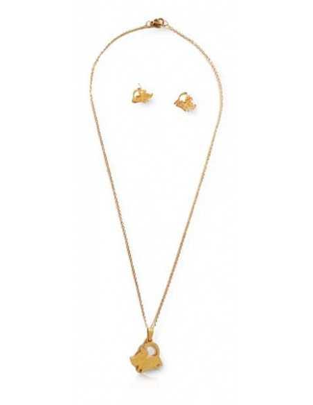Parure acier collier pendentif chat + boucles