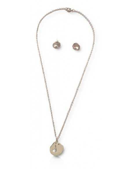 Parure acier collier pendentif dauphin + boucles