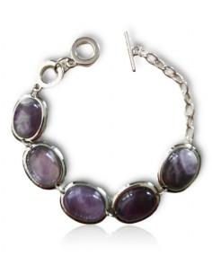 Bracelet pierres améthyste ovales manchette articulée