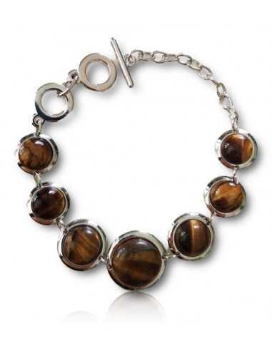 Bracelet pierres oeil de tigre rondes dégradées manchette articulée
