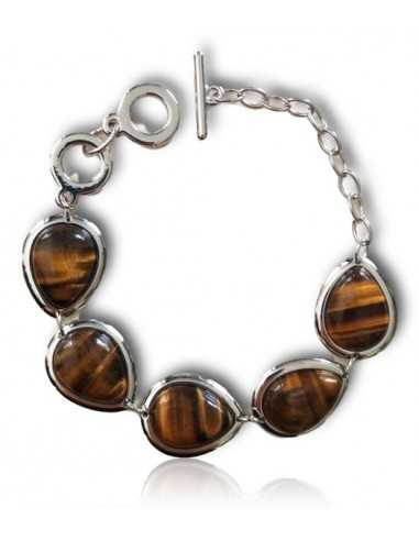 Bracelet pierres oeil de tigre gouttes manchette articulée