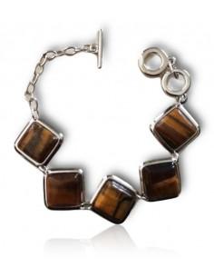 Bracelet pierres oeil de tigre carrées manchette articulée