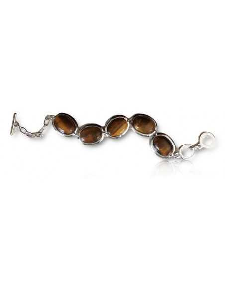 Bracelet pierres oeil de tigre ovales manchette articulée