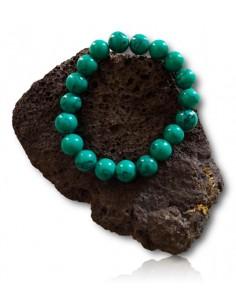 Bracelet turquoise verte véritable pierres boules 10 mm