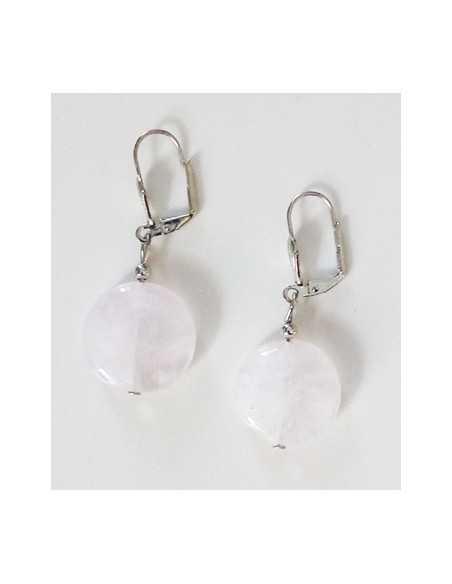 Boucles d'oreilles quartz rose pierres rondes plates 2 cm