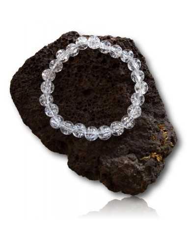 Bracelet quartz blanc craquelé pierres boules 8 mm