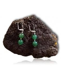 Boucles d'oreilles pierre aventurine boules pendantes