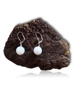 Boucles d'oreilles calcédoine pierres boules 10 mm
