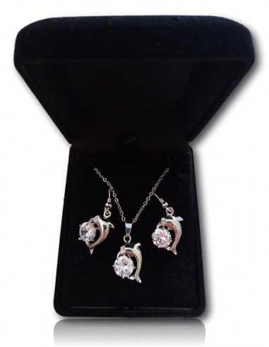 Parure en coffret collier pendentif dauphin avec petit strass et boucles