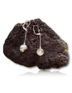 Boucles d'oreilles quartz hematoide foncé pierres boules pendantes