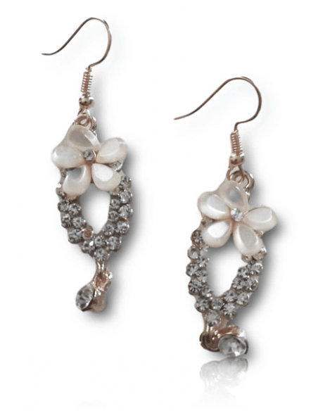Boucles d'oreilles fleurs pendantes serties
