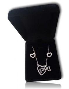 Parure en coffret collier pendentif coeur love et clef avec boucles