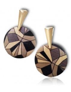 Boucles d'oreilles bois motifs géométriques rondes pendantes