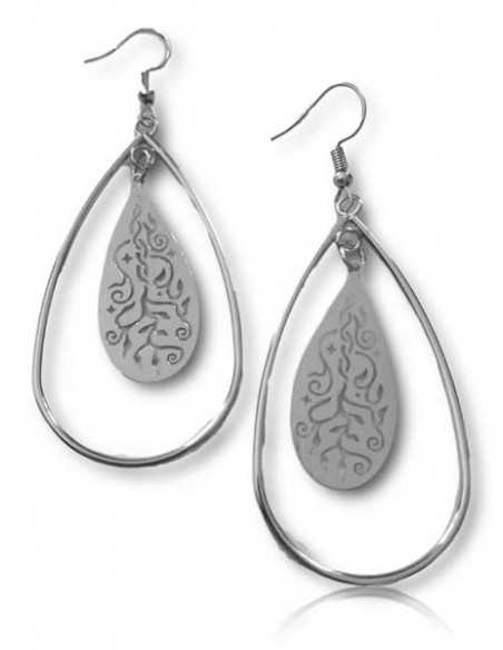 Boucles d'oreilles créoles ovales pendentif motif fleurs