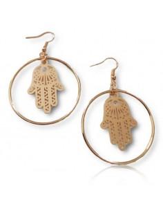 Boucles d'oreilles créoles pendentif main de fatma