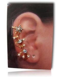 Bijoux d'oreilles motifs fleurs avec perles et strass
