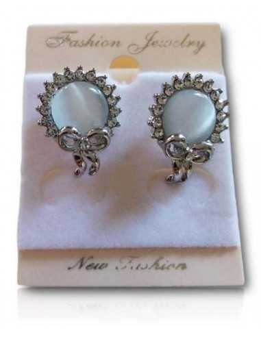Boucles d'oreilles puces perle translucide motif noeud