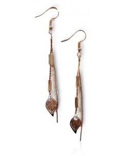 Boucles d'oreilles pendantes chaines et feuilles filigranées