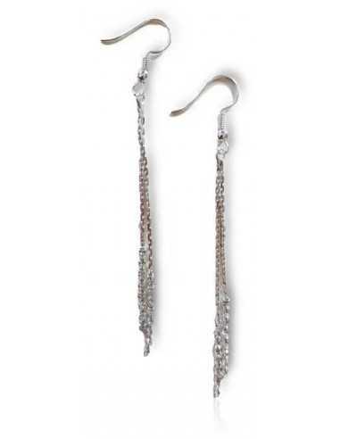 Boucles d'oreilles chaines et strass pendantes