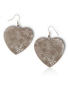 Boucles d'oreilles acier inoxydable coeur motifs fleurs