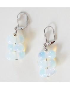 Boucles d'oreilles grappes pierre de lune pierre naturelle 3 cm